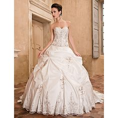 Ball Gown Sweetheart Chapel Train Taffeta Wedding Dress -- A little much for me usually, but still so very beautiful!