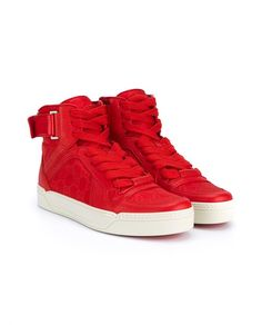 GUCCI Red Leather Hi-Top Trainers. #gucci #shoes #sneakers