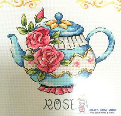 Flower Teapot Cross stitch pattern leaflet. Big Chart. SODA SO-G87 w 110count × h 253count  - Only patterns. Fabric, thread, needles, cushions, frames, etc. are not included. - Contains color chart with symbols and Floss conversions for DMC, ANC, Yeidam.  - A new leaflet never used - It come from a smokefree home. - Manufactured in Korea. SODA stitch Product.  We are the official retailer of SODAstitch. We do not sell copies. We Sell only original design.
