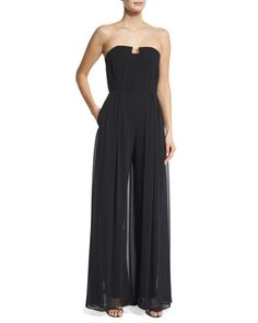 Strapless+Wide-Leg+Jumpsuit,+Black+by+Halston+Heritage+at+Neiman+Marcus.