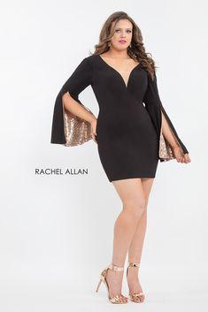 fd22bb707e4 Rachel Allan 4809 Bell Sleeve Plus Size Homecoming Dress