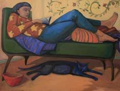 """Paula Zima's """"Woman Reading, With Large Cat Under the Couch"""""""