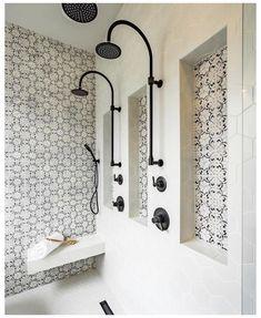 Master Shower, Master Bathroom, Rental Bathroom, Loft Bathroom, Master Room, Downstairs Bathroom, Double Shower Heads, Niche Design, Shower Remodel