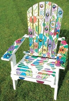 DIY Painting Outdoor Adirondack Chair Ideas - Balcony Decoration Ideas in Every Unique Detail Painted Outdoor Furniture, Whimsical Painted Furniture, Adirondack Furniture, Funky Furniture, Paint Furniture, Rustic Furniture, Furniture Makeover, Adirondack Chairs, Baby Furniture