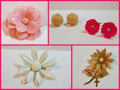 Vintage Retro Flower Jewelry lot by Raidersoflostloot on Etsy, $20.00
