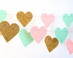 Hearts Garland, Glitter Paper Garland, Gold, Blush and Mint, Pink and Green, Bridal Shower, Baby Shower, Party Decorations, Birthday Decor