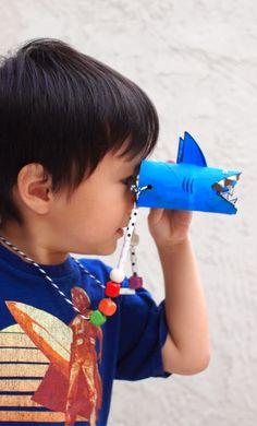 Shark Binoculars, craft, diy, recycle, children, tp roll, toiletpaper roll, #knutselen, kinderen, basisschool, verrekijken van wc-rol, toiletpapier rol