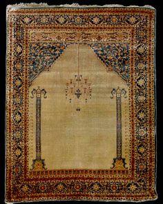 Sotheby's antique Tabriz prayer silk rug, Azerbaijan, NW Iran