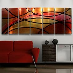 Modern Abstract Metal Wall Art Decor Sculpture Red Painting Elegant