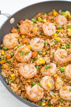 Easy Betterthantakeout Shrimp Fried Rice With Sesame Oil Canola Oil Shrimp Frozen Peas Corn Garlic Cloves Ground Ginger Large Eggs Cooked Rice Green Onions Low Sodium Soy. Shrimp Recipes Easy, Healthy Recipes, Seafood Recipes, Asian Recipes, Cooking Recipes, Ethnic Recipes, Easy Recipes, Chinese Shrimp Recipes, Eat Healthy