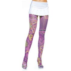 Multicolored Opaque Retro Print Tights