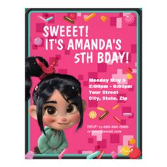 528 best cute custom personalized kids birthday party invitations vanellope von schweetz birthday invitation personalized invites filmwisefo