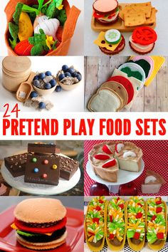 24 gorgeous handmade felt, wooden and woolen pretend play food sets.