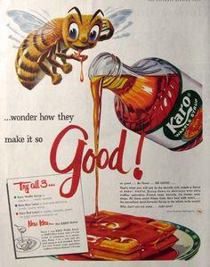 1958 Karo Waffle Syrup Ad ~ So Good!