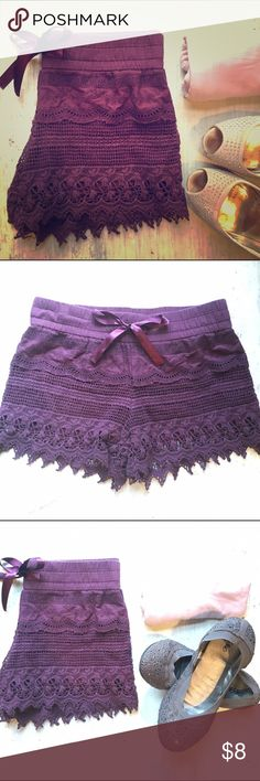 🎉Host Pick 🎉Lace shorts in burgundy PRICE REDUCED! Perfect length. Comfortable elastic waist band and pretty satin ribbon. Soft liner.(see burgundy pair inside out in 3rd photo) Available in several pretty colors (black(2), beige, burgundy and beautiful soft navy(2)💙 . Blue pair new in pack is $8.            Last pic shows other lace available in my closet. Shorts