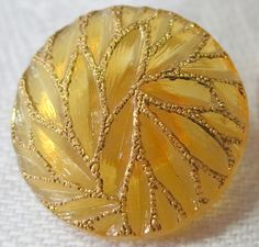 Vintage glass button 0.75 ins across orange by ButtonsAndTreasures