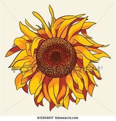 Sunflower View Large Illustration