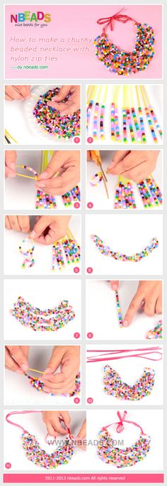 how to make a chunky beaded necklace with nylon zip ties