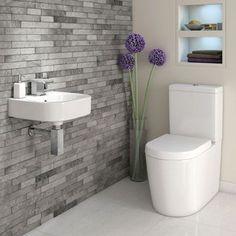 Space Saving Toilet Design for Small Bathroom - Home to Z Space Saving Toilet, Small Toilet Room, Cloakroom Toilet Small, Downstairs Cloakroom, Downstairs Toilet, Bathroom Design Small, Bathroom Layout, Bathroom Colour Schemes Small, Bathroom Feature Wall Tile
