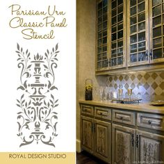Stencils enhance cabinet finishes | Project by Anything But Plain | Royal Design Studio