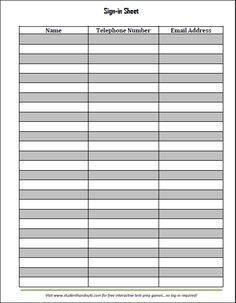 blank sign in sheet … | Sheets /…