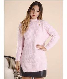 Princess-High-Neck-Tunic-knit Pink  $ 64.79 | fluffy knit  •  skinnies •  boots | f r e e   p o s t  | We've fallen in love with this totally fierce knitted jumper with our fave high neck trend!