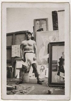 Pablo Picasso Self Portrait topless boxer panties in front Man sitting at running glass in the workshop of the rue Schoelcher, Paris