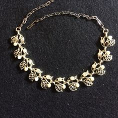 """Necklace Vintage gold tone 17"""" choker style; all rhinestones & faux pearls intact; the leaves are open filigree; adjustable Jewelry Necklaces"""