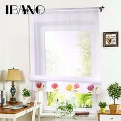 Roman Curtain Floral Hand Printing Sheer Window Curtain For Kitchen Living Room Voile Screening Drape Panel with Belt 1 PCS/Lot