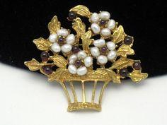 Vintage SWOBODA Genuine Gemstone Floral Basket Pearl Garnet Brooch Pin http://www.ebay.com/itm/Vintage-SWOBODA-Genuine-Gemstone-Floral-Basket-Pearl-Garnet-Brooch-Pin-/180965838311?pt=Vintage_Costume_Jewelry=item2a22678de7