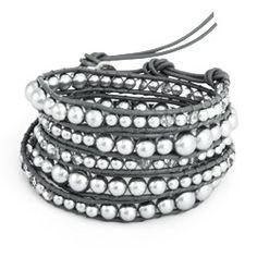 Chen Rai Graduated Grey Pearl and Glass Mix Wrap Bracelet #pearls #beads #grey #glass #wrapbracelets