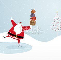 Santa Claus ice skating. Chistmas design Royalty Free Stock Vector Art Illustration