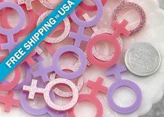 30mm Pink Female Venus Girl Symbol Glitter Acrylic or Resin Cabochons - 6 pc set
