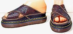 NWOB Dr Martens Brown Leather Sandals Slides Junior sz 4 #DrMartens #Sandals