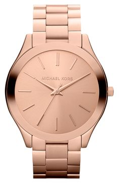 This slender rose gold watch is simply stylish.