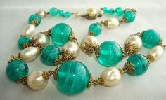 Beautiful Art Deco Green Marble Art Glass Glass Pearl Brass Sterling Clasp Vintage Necklace