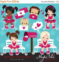Valentine Love Letters Clipart 11 cute valentine's day graphics with cute characters, cute valentines writing letters graphics, valentine cats, valentine little lion, pink and brown color valentine elements such as little valentine hearts, xoxo mailbox clipart, speech bubble clipart and cute valentine graphics. Perfect for invitations, party printables and embroidery.  Contains 11 high quality Cliparts Format: 300 DPI transparent PNG files ( individually saved) and JPEG card templates Size…