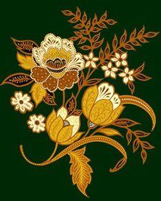 Hand Embroidery Flowers, Embroidery Patterns, Floral Illustrations, Illustration Art, Textile Prints, Textiles, Indonesian Art, Batik Art, Motif Floral