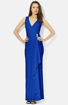 Lauren Ralph Lauren Embellished Faux Wrap Jersey Gown (Regular & Petite) available at #Nordstrom