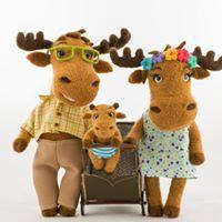 Felted moose family handmade toys