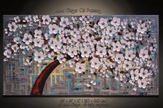Original Abstract Cherry Blossom Tree Painting by GuiseArt on Etsy, $289.00