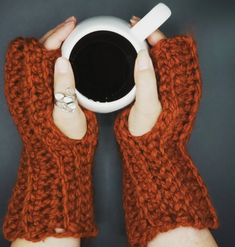 Thick Wool Blend Hand Warmers in 'Pumpkin Spice' by OhanaBoutiqueCrochet on Etsy