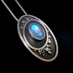 Blue Moonstone Oval Pendant by Abi Cochran. See more work on Facebook - https://www.facebook.com/silverspirals.co.uk