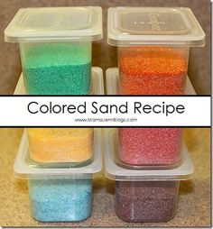 Not too long ago, we needed some colored sand for an art project. So, we decided to try to make our own! This is a easy tutorial in case you would like to make your own colored sand as well! Supplies: food coloring bowls aluminum foil