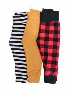 Fall Leggings for babies, amazing colors: mustard, black and white stripe and buffalo plaid