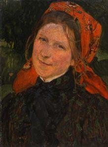 Józef Mehoffer (Polish, 1869-1946) - Portret żony (Głowa w chustce), 1903