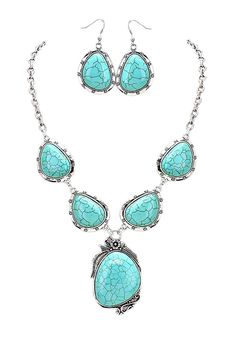Floral Trim Turquoise Color Stone Statement Necklace Earring Set