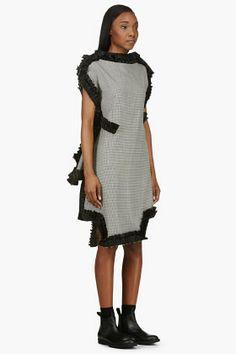 COMME DES GARÇONS Black & White Houndstooth Ester Taffeta Ruffle Dress
