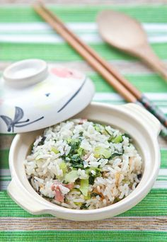 Cooked Rice with Pak Choy and Gammon- Shanghainese dish. Easy and delicious.
