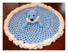 Here's another Free Pattern by Connie Hughes Designs© Free Teddy Bear, Granny Circle Security Blanket Pattern© Crochet Security Blanket, Baby Afghan Crochet Patterns, Crochet Teddy Bear Pattern, Crochet Lovey, Baby Security Blanket, Lovey Blanket, Baby Blanket Crochet, Crochet Dolls, Free Crochet